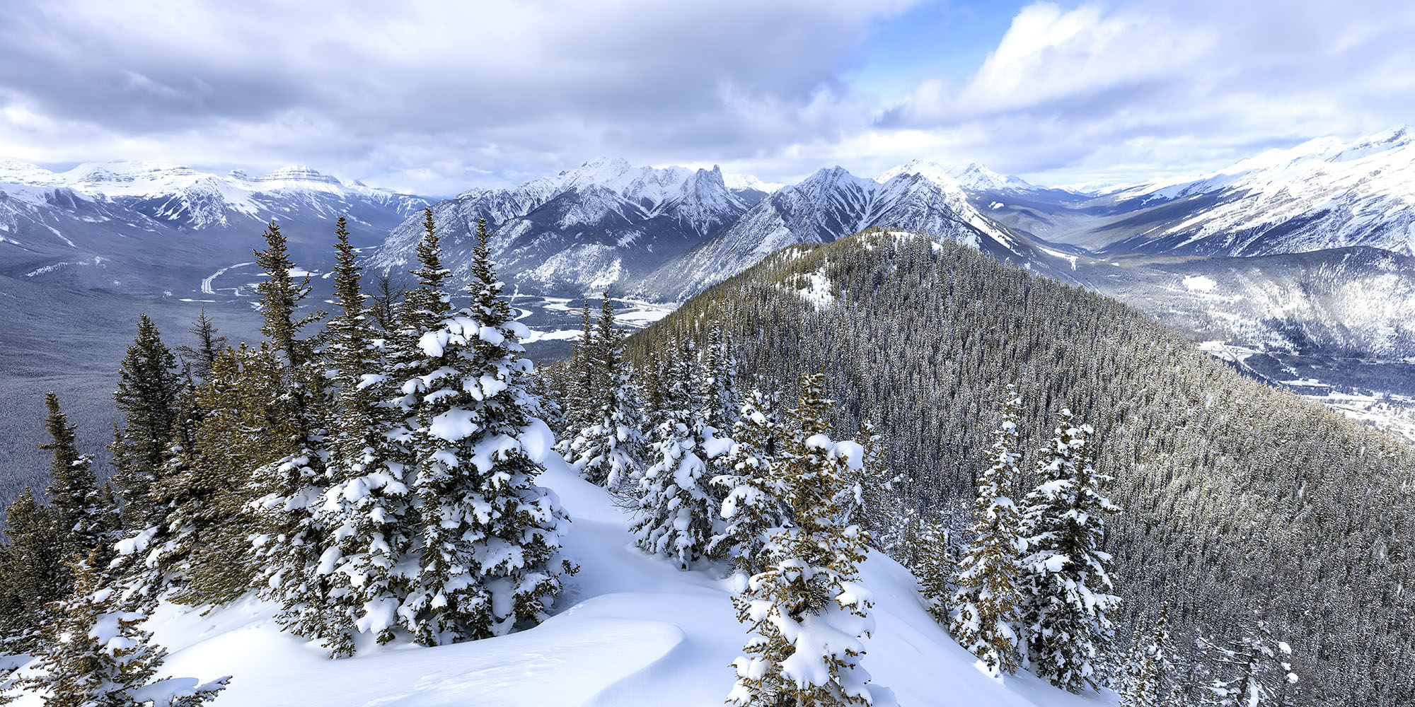 a winter day on the sulphur mountain